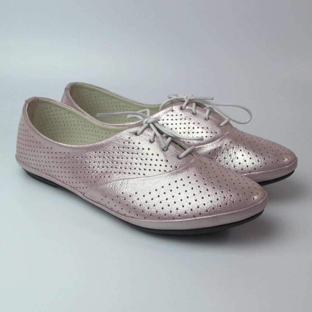 Балетки рожеві літні шкіряні жіноче взуття великих розмірів LaCoSe V Purple Perl Perf BS Лілові