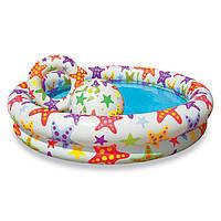 Детский надувной бассейн Intex с пляжным мячиком и кругом 122-25см