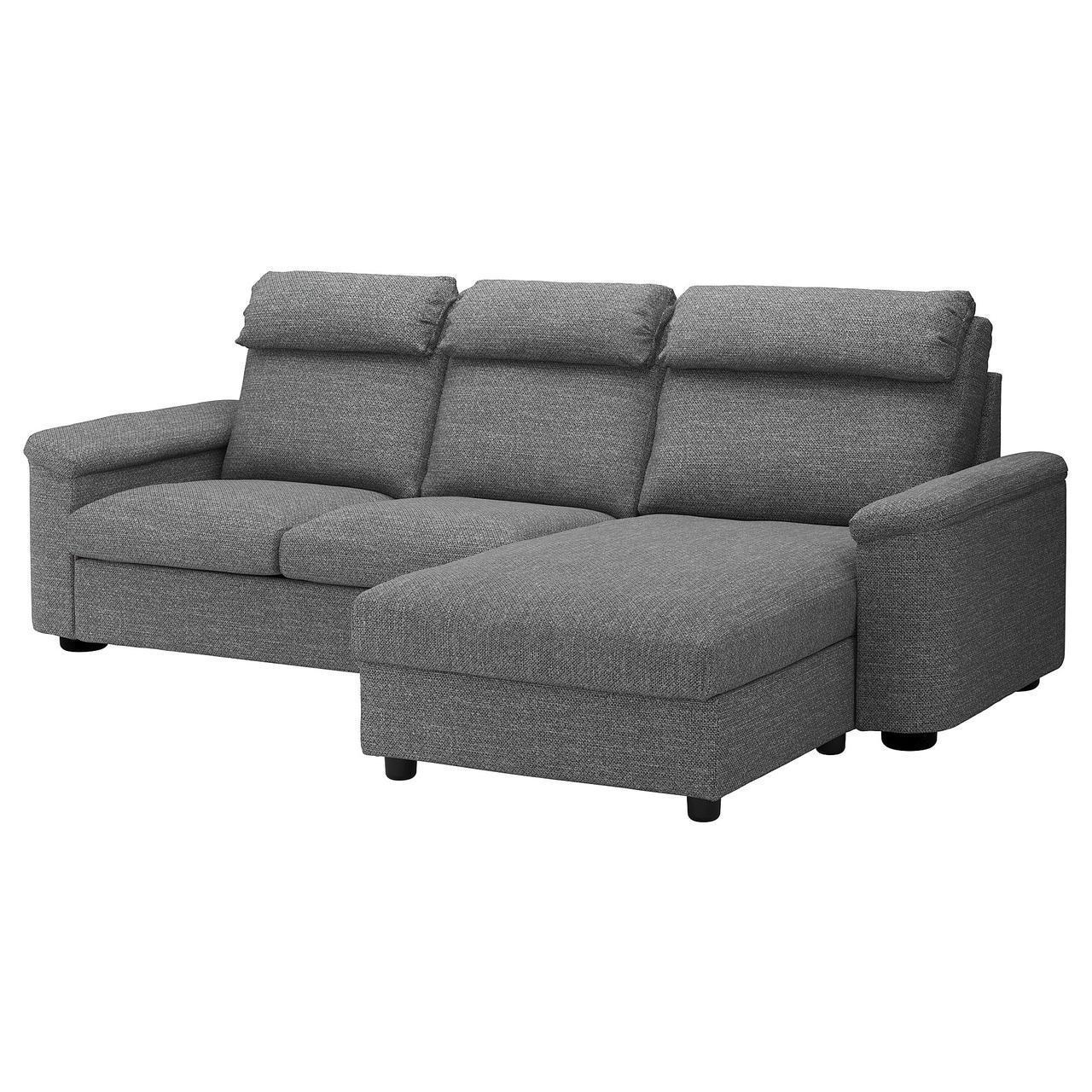 Диван IKEA LIDHULT 3-местный с шезлонгом Lejde серый 992.571.81