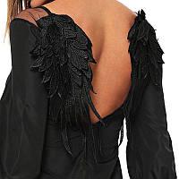 Платье женское чёрное с открытой спиной короткое