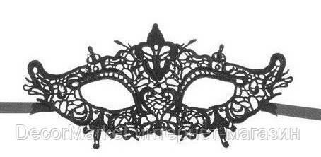 Маска кружевная, карнавальная черная 20, фото 2