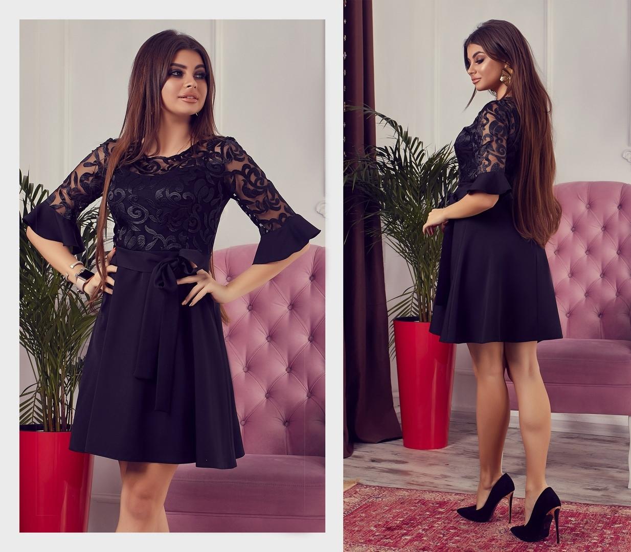 e6bb10750628c6a Красивое и нарядное женское коктейльное платье с кружевной вышивкой черное  - Стильная женская одежда оптом,