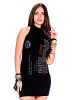 Платье женское с надписями и стразами  WY114 XL Cipo&Baxx
