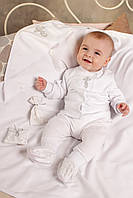 Крестильный набор для новорожденного (кофточка и ползунки)