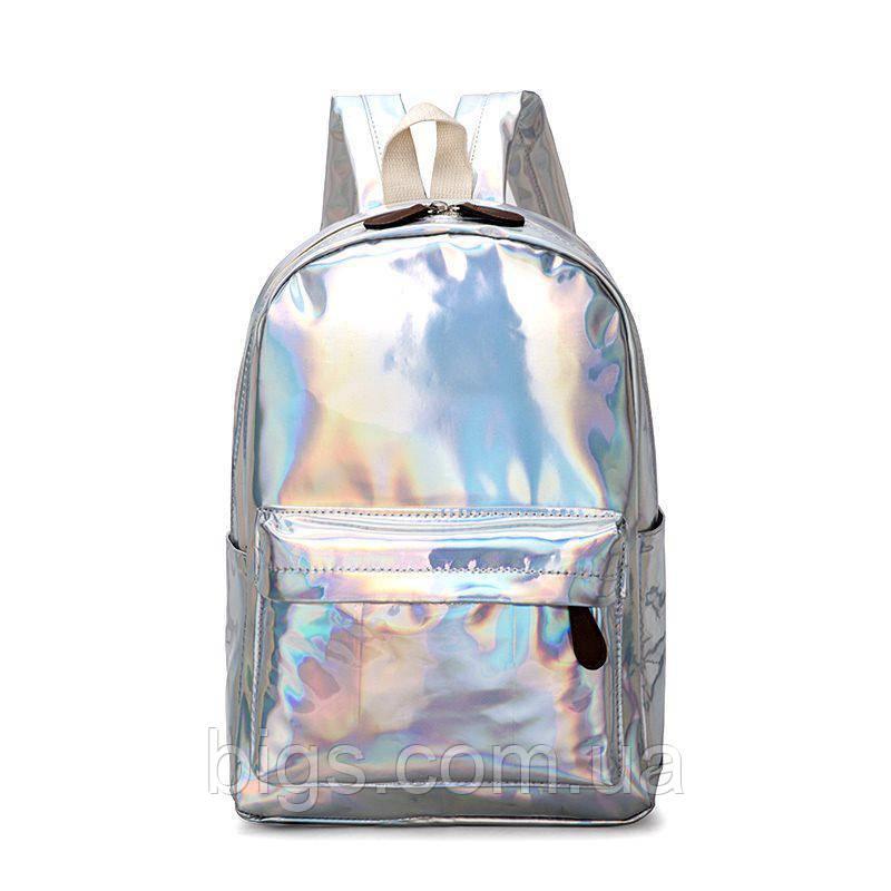 8982f7af740 Рюкзак городской голограммный 36х25х11 см среднего размера ( красивые  рюкзаки ) серебро