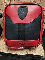 Барсетка сумка мужская красная Ferrari 116140 малая из эко-кожи один отдел вертикальная 23х18х7см, фото 1