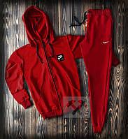 Спортивный костюм с Найк красного цвета (Nike) на молнии с капюшоном приталенный, фото 1