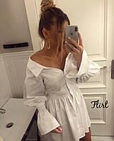 МБ Платье рубашка женское с широкими рукавами на манжетах