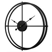 Часы настенные (50 см) металлические большие в стиле лофт черные, [Металл]