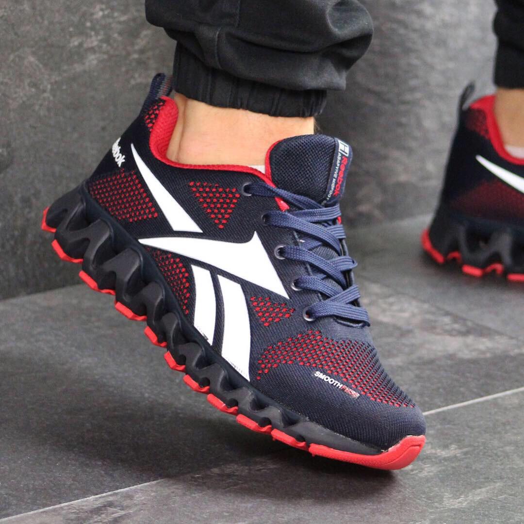 37f8e3d6 Мужские демисезонные кроссовки 7567 Reebok темно синие с красным купить  дёшево - Интернет-магазин