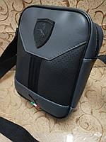 Барсетка сумка серая мужская из эко-кожи Ferrari 116142 малая один отдел ремень на плечо 23х18х7см, фото 1