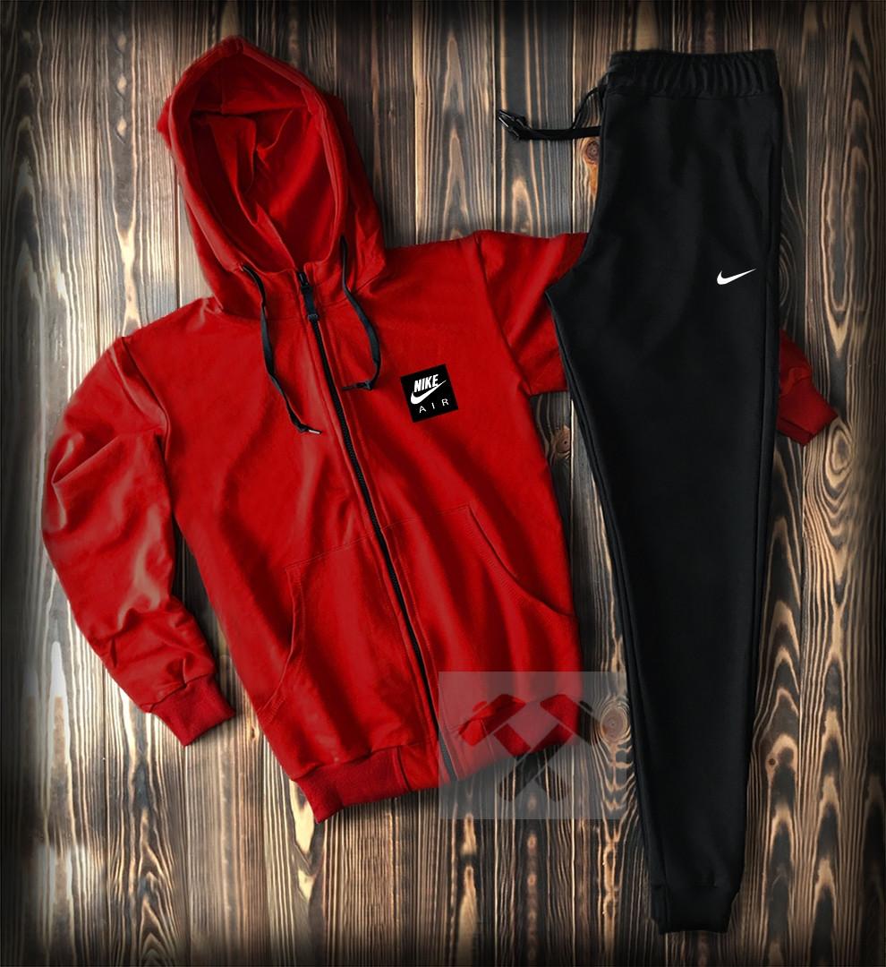 Спортивний костюм з Найк червоного кольору чоловічий (Nike) приталений модний з капюшоном
