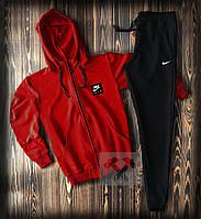 Спортивний костюм з Найк червоного кольору чоловічий (Nike) приталений модний з капюшоном, фото 1