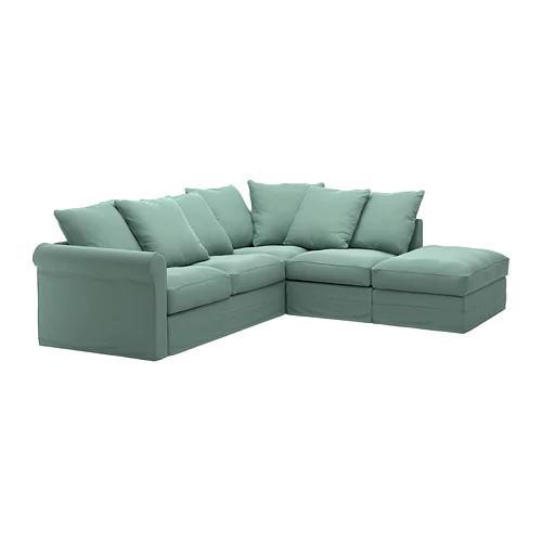 Угловой диван 4-местный IKEA GRÖNLID Ljungen светло-зеленый 692.562.44