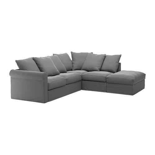 Угловой диван 4-местный IKEA GRÖNLID Ljungen серый 992.560.11