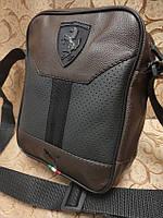 Барсетка сумка коричневая мужская из эко-кожи Ferrari 116143 малая один отдел ремень на плечо 23х18х7см, фото 1