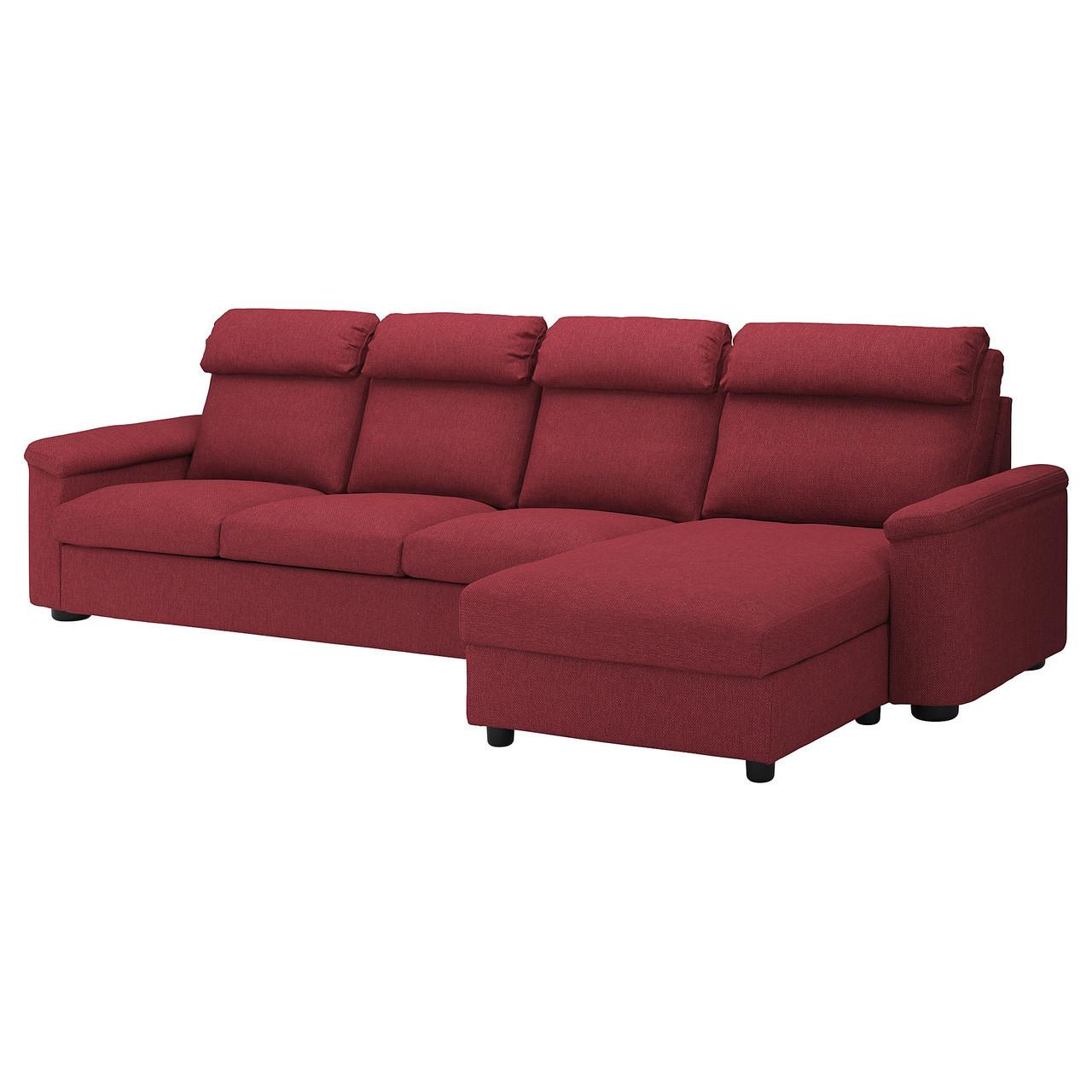 Диван IKEA LIDHULT 4-местный с шезлонгом Lejde бордовый 292.920.60