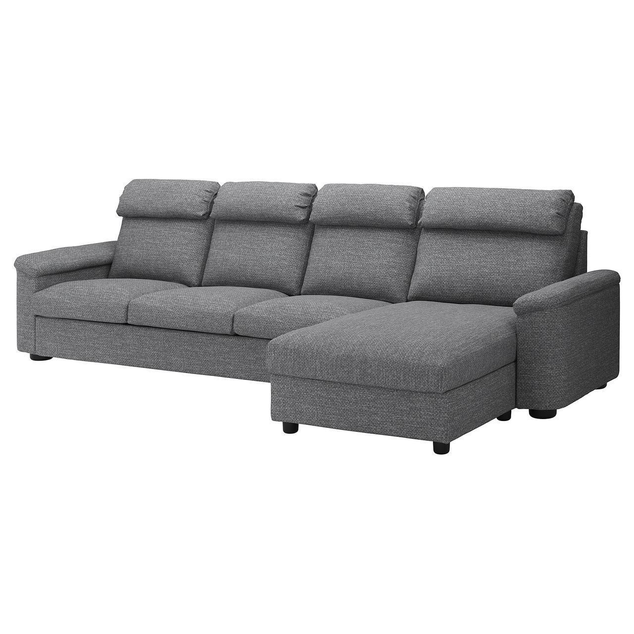 Диван IKEA LIDHULT 4-местный с шезлонгом Lejde серый 092.920.56