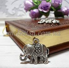 """Подвеска декоративная """"Слон"""", серебро, 22 х 19 мм"""