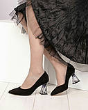 Шикарные черные замшевые женские туфли на фигурном каблучке, фото 6