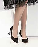 Шикарные черные замшевые женские туфли на фигурном каблучке, фото 7