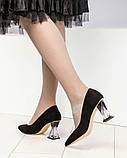 Шикарные черные замшевые женские туфли на фигурном каблучке, фото 9