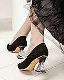 Шикарные черные замшевые женские туфли на фигурном каблучке, фото 10