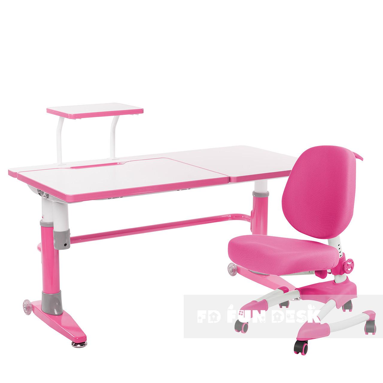 Комплект подростковая парта для школы Ballare Pink + ортопедическое кресло Buono Pink FunDesk
