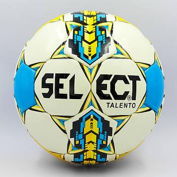 М'яч футбольний №4 PU ламінований ST TALENTO (біло-жовтий-синій, зшитий вручну)