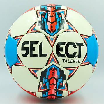 М'яч футбольний №4 PU ламінований ST TALENTO (біло-синій, зшитий вручну)