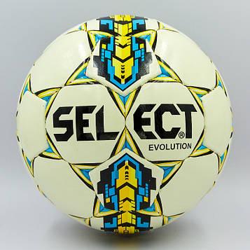 М'яч футбольний №4 PU ламін. ST EVOLUTION білий-синій-жовтий (№4, 5 сл., зшитий вручну)
