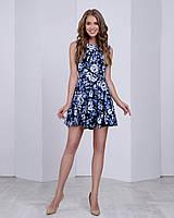 Женское платье (юбка-солнце)  стильный принт: синие розы на черном, фото 1