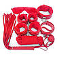 Набор красный Садо-мазо,фетиш,BDSM.БДСМ Плетка, веревка 5 м.,маска, кляп,наручники 2 пары, ошейник.1, фото 2