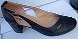 Туфли женские на среднем каблуке из натуральной кожи черного цвета от производителя модель РБ05, фото 3