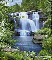 """Фотообои бумажные на стену, 242х201 см """"Водопад Созерцание"""", фотообои готовые, фотообои природа, 15 листов"""
