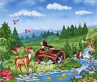 """Фотообои бумажные на стену, 201х242 см """"Веселый ручей"""", фотообои готовые, фотообои природа, 15 листов"""