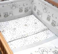 "Набор в детскую в  кроватку ""Сова клітинка "" 6ед.(Защита на всю кроватку, 2 части), фото 1"