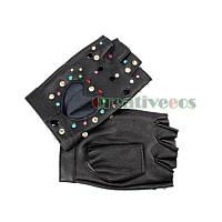 Перчатки для водителей женские цветные с камушками