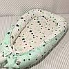 Кокон гнездышко для новорожденных Сладкий Сон с ортопедической подушкой Зеленый/белый