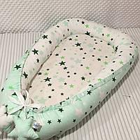 """Кокон-гніздечко для новонароджених """"Зірочки"""" в зеленому кольорі 90х50 см."""