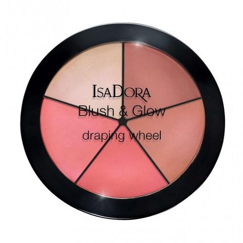 Палетка румян и хайлайтеров для лица Blush & Glow Draping Wheel 55 Peachy Rose Pop IsaDora
