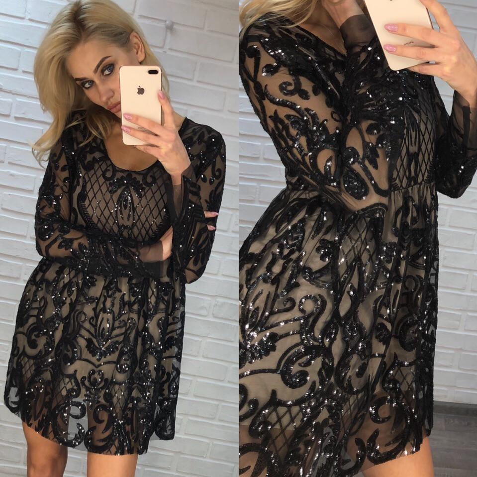 7c4a27c0f28dd45 Платье с завышенной талией с вышивкой паетками - Интернет-магазин одежды