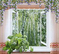 """Фотообои бумажные на стену, 201х194 см """"Окно в сказку"""", фотообои готовые, фотообои природа, 12 листов"""