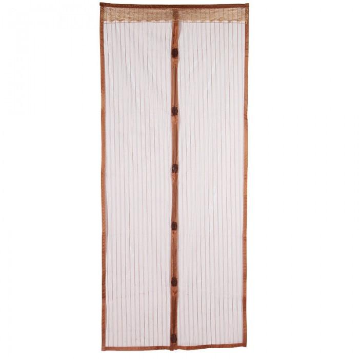 Анти москитная сетка штора на магнитах Magic Mesh 100*210 см Коричневая