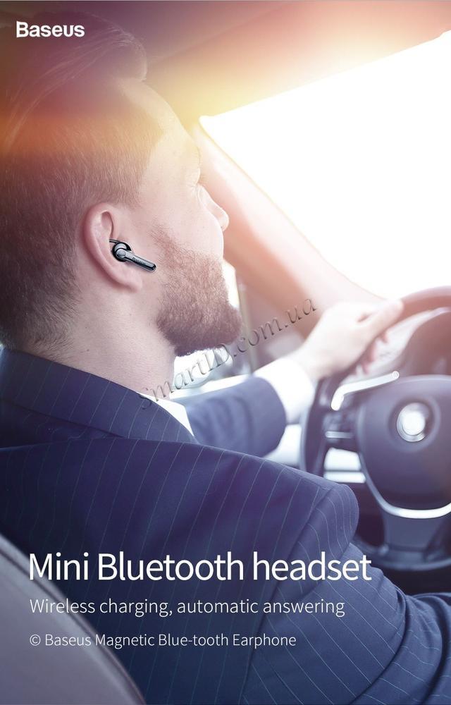 Bluetooth гарнитура Baseus Mini Magnetic Bluetooth Headset NGCX-01/NGCX-03 Черная/Синяя