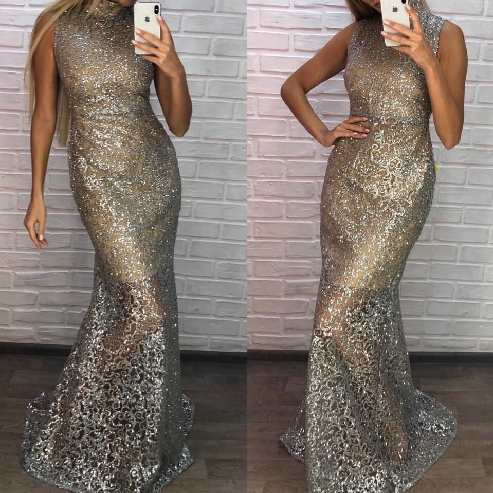 95dea8f4ad18973 Женское длинное платье с мерцающим глиттером - Интернет-магазин одежды