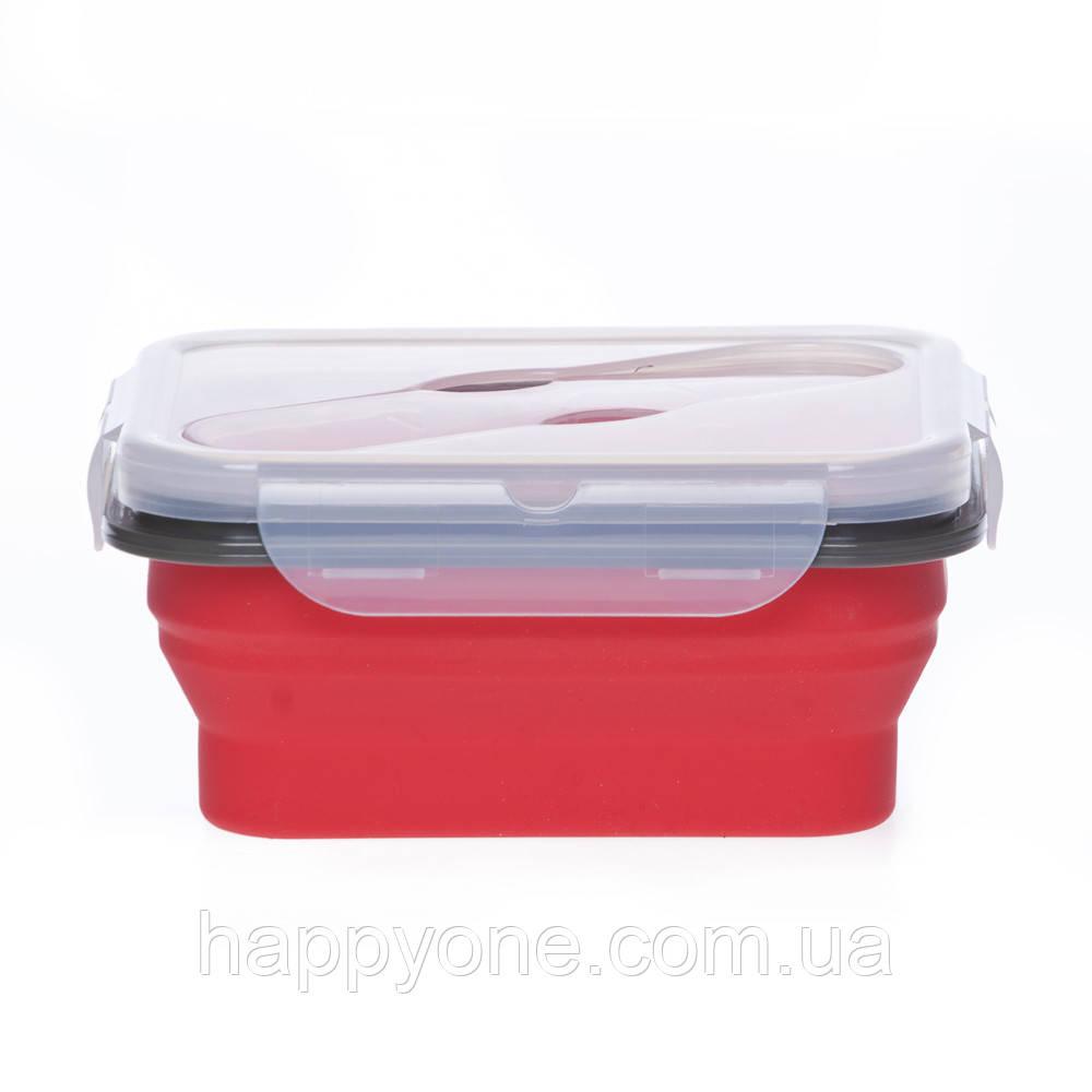 Ланчбокс складной силиконовый (красный)