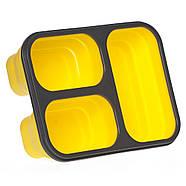 Ланчбокс складаний силіконовий потрійний (жовтий), фото 3