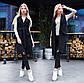 """Женское стильное пальто-жилет 9168 """"Кашемир Карманы Клапан"""" в расцветках, фото 3"""