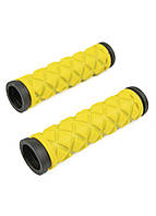 Ручки велосипедные (Грипсы) WOLF-bike 11,8х3см Желтый, Черный